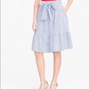 NWOT J.Crew Tie Front Ruffle Skirt Cotton SZ 10